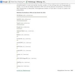 Screenshot mit CMS-Überblick